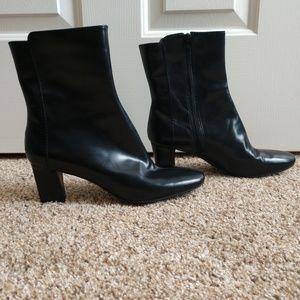 "Nine West Black Calf Boots 2 1/2"" Heel Size 8 1/2M"